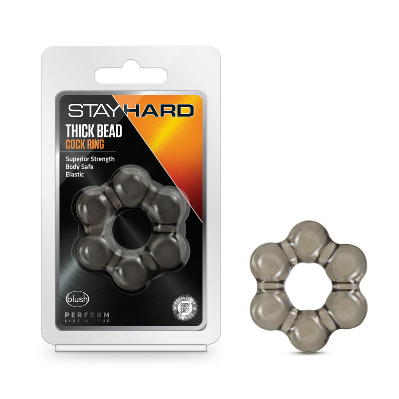 Stay Hard Thick Bead Cock Ring Black