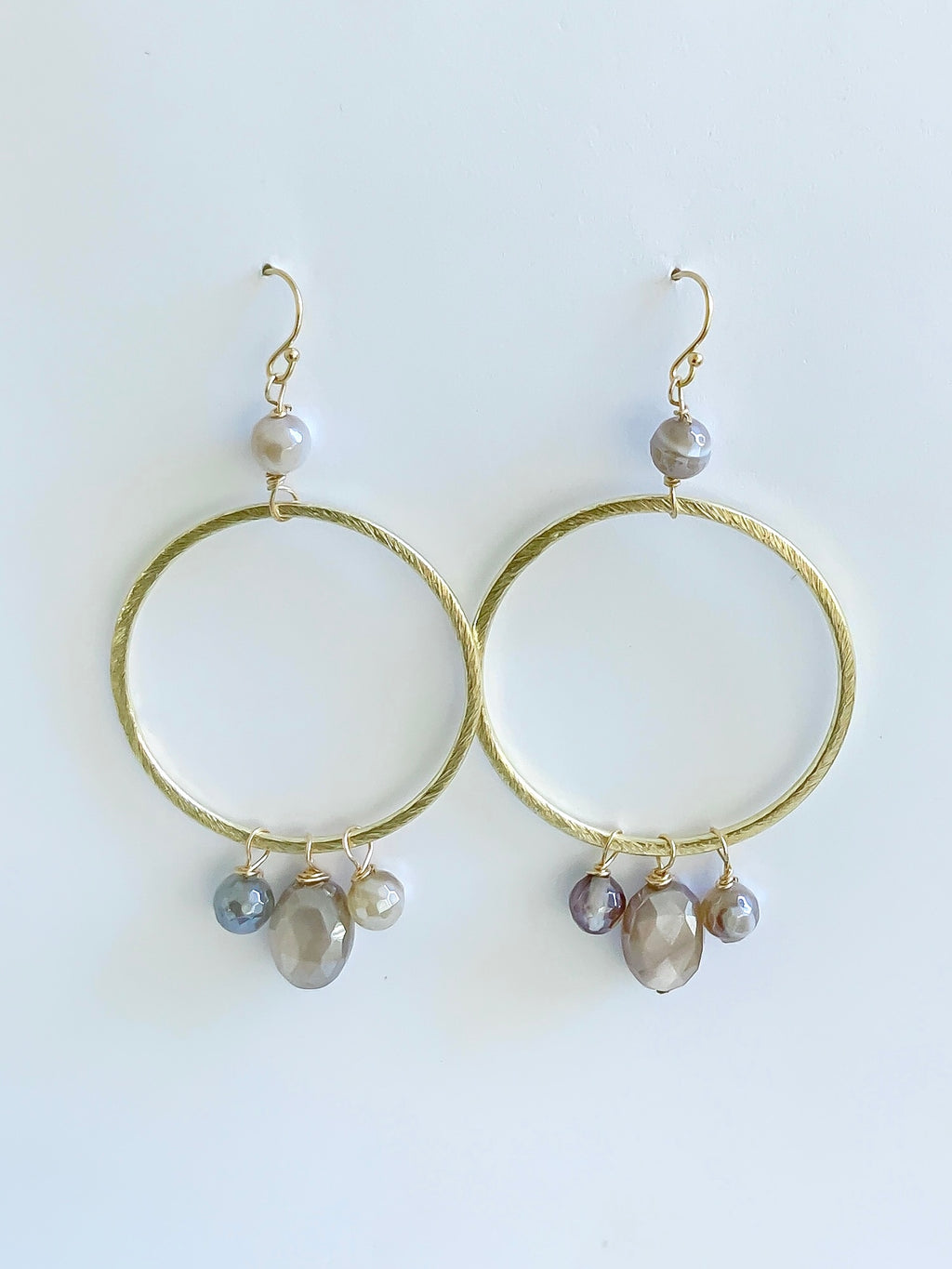 Gold Hoops with Moonstone and Agate