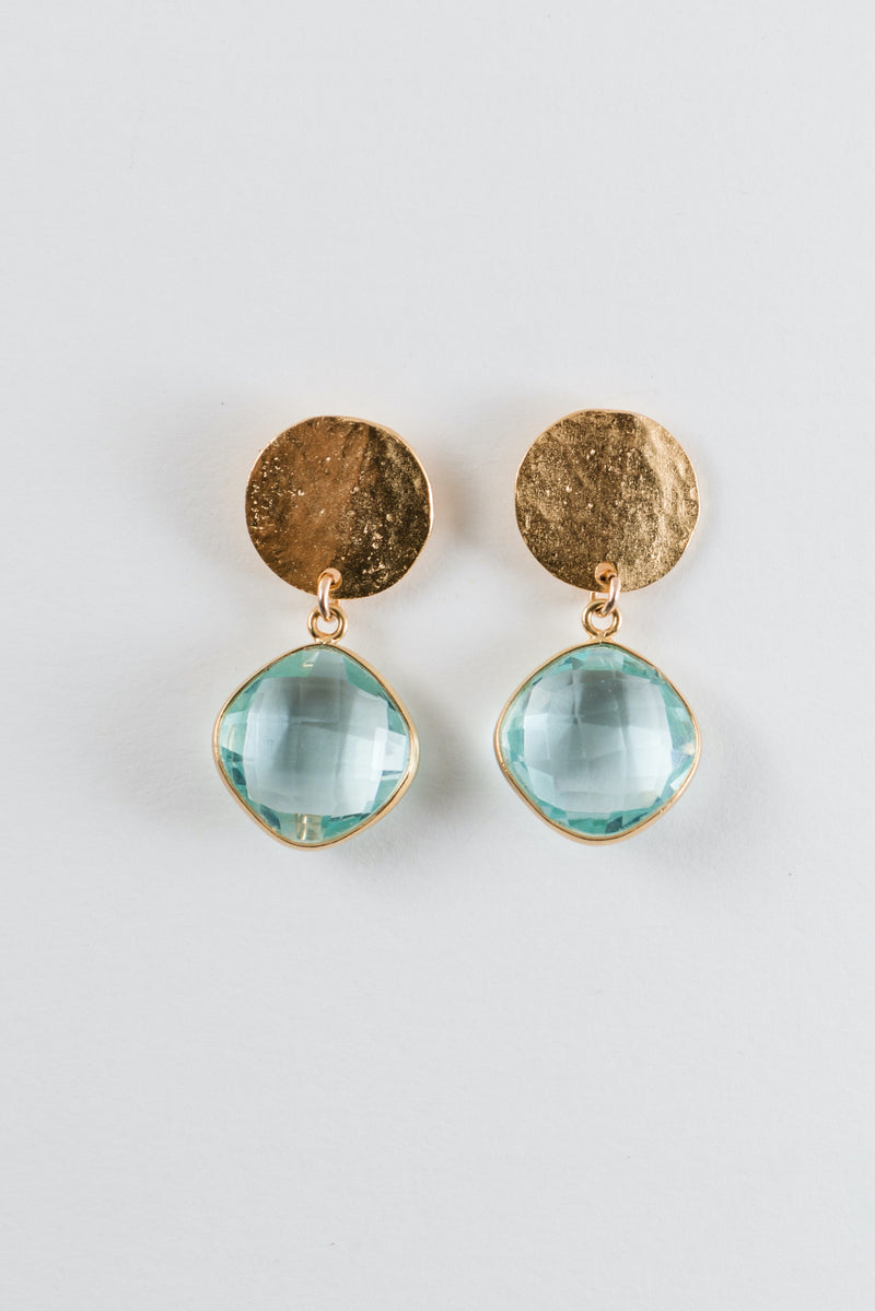 Aquamarine and Gold Disk  Earring