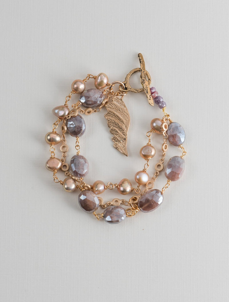 Rose's Flight Bracelet in Moonstone and Pearls