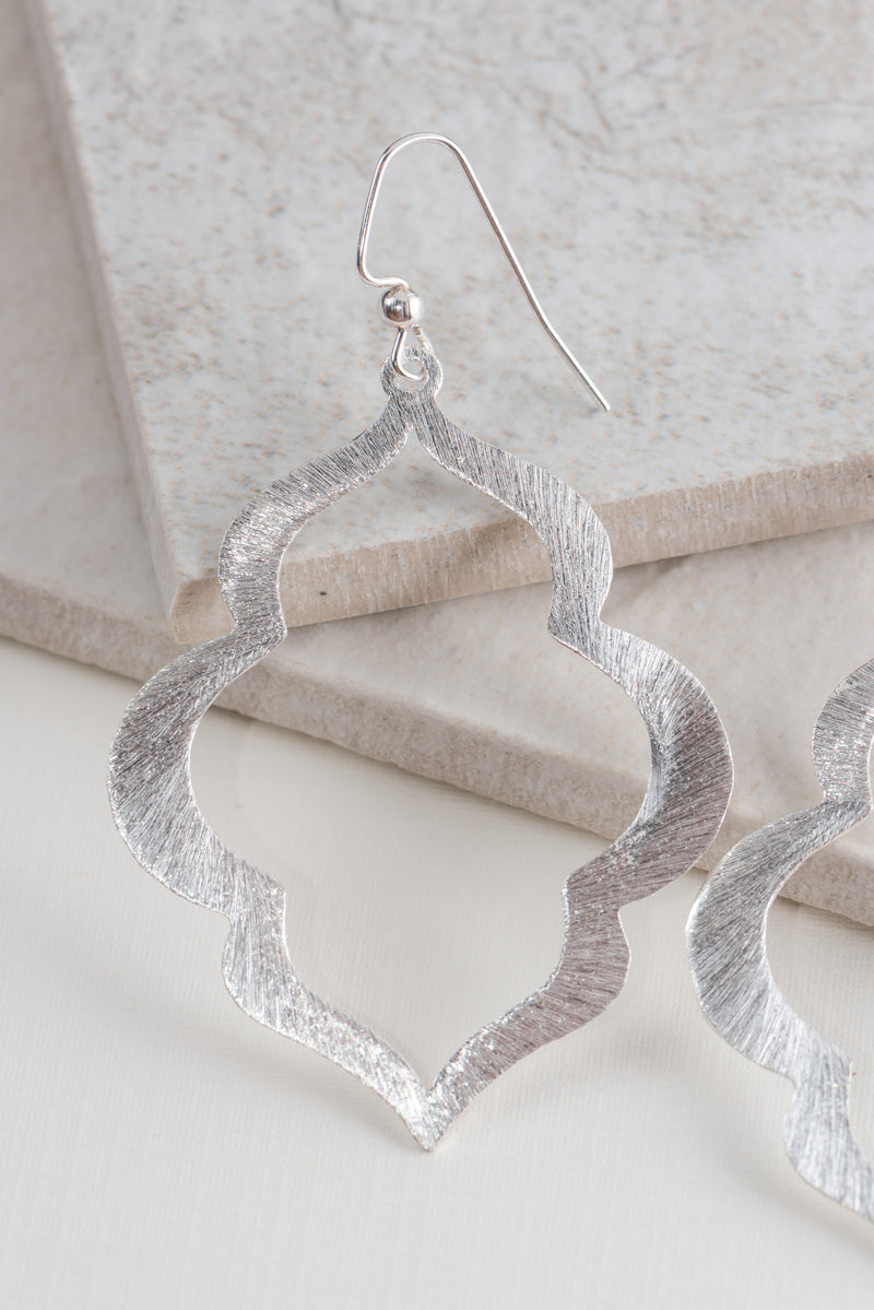 Lantern Earrings in Brushed Silver