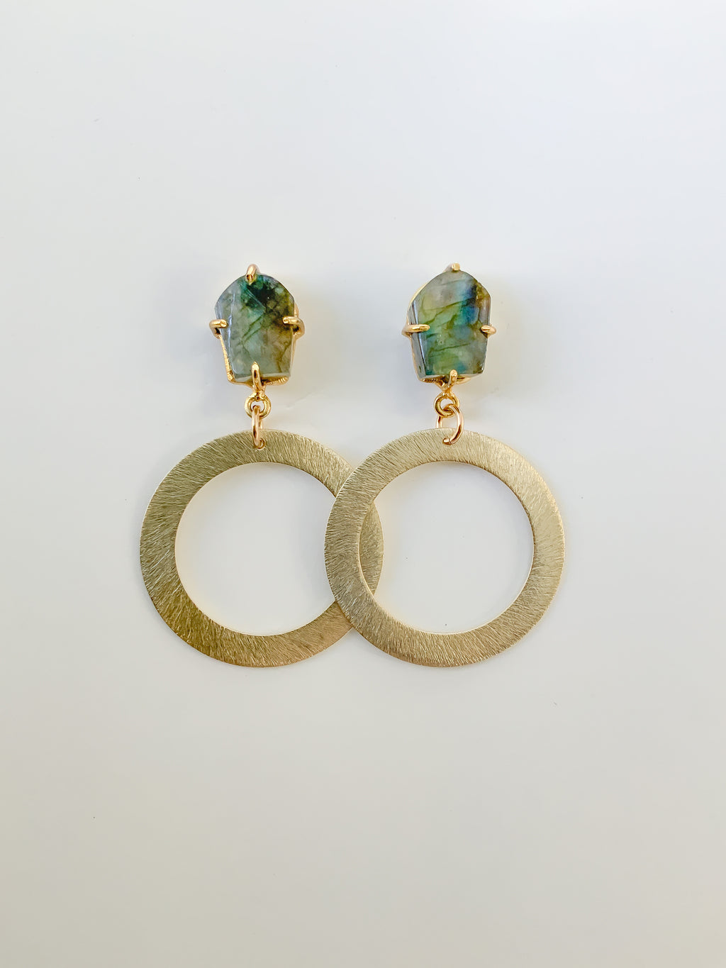 Labradorite and Hoop Earrings