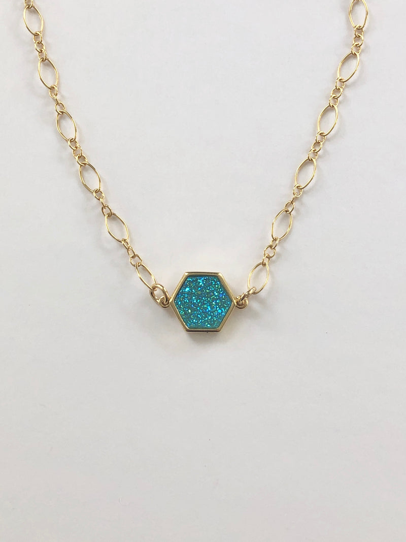 Blue Ice Druzy Necklace