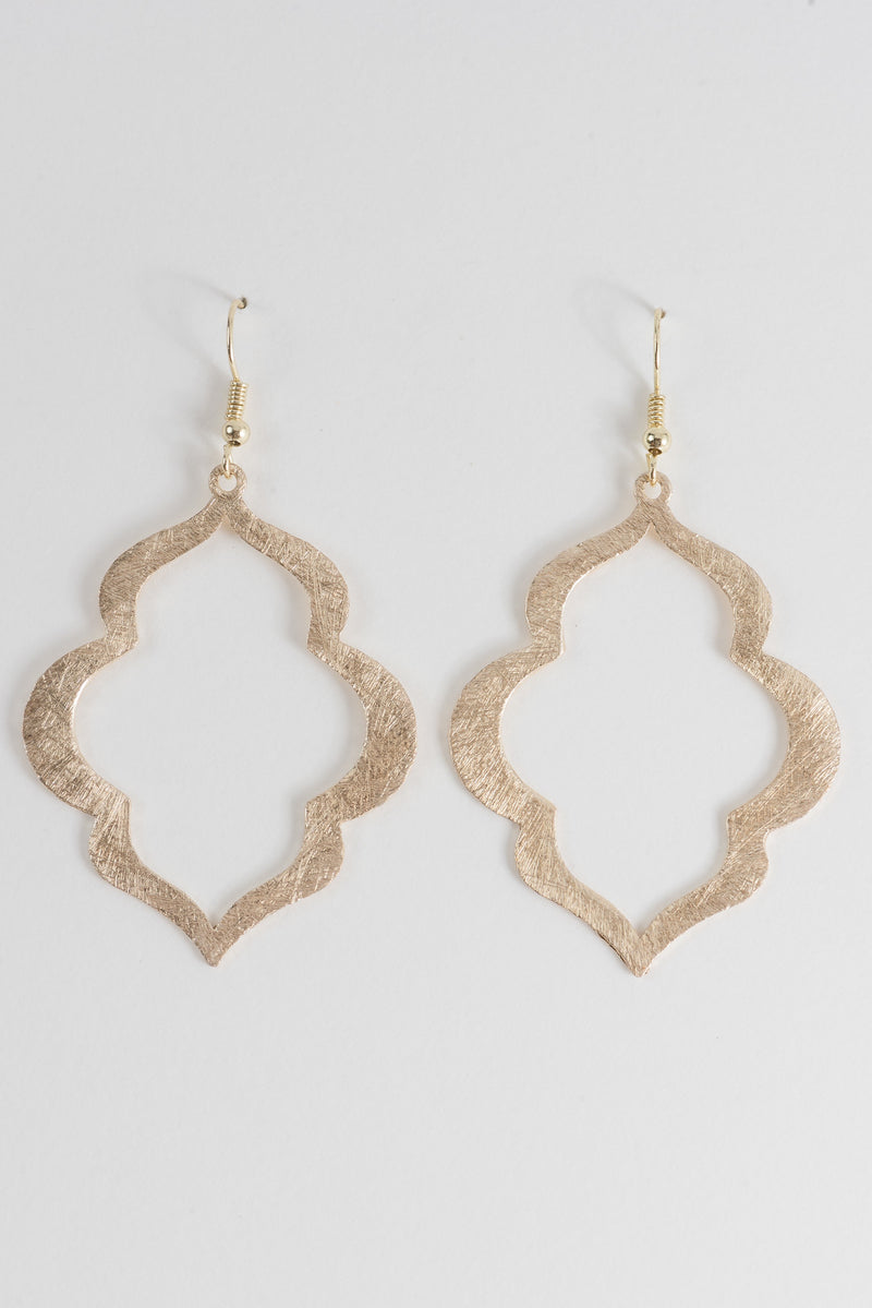 Lantern Earrings in Brushed Gold or Silver