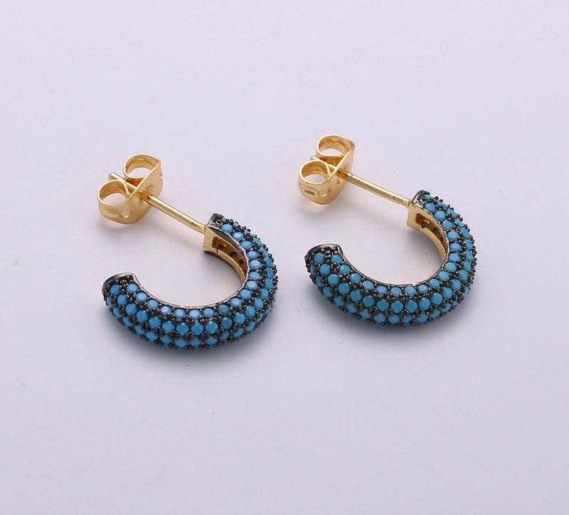 Petite Pave Teal Hoop Earrings