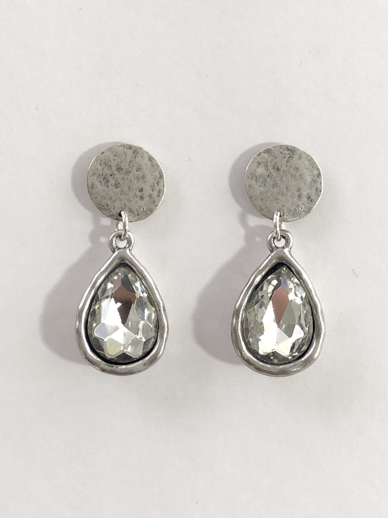 Silver Teardrop Rhinestone Earrings