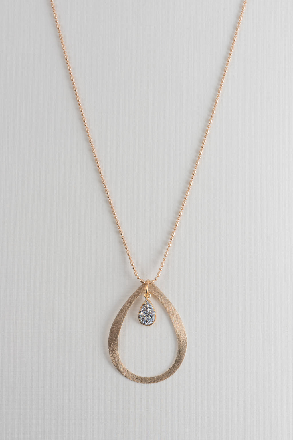 Brushed Gold Teardrop Necklace with Druzy