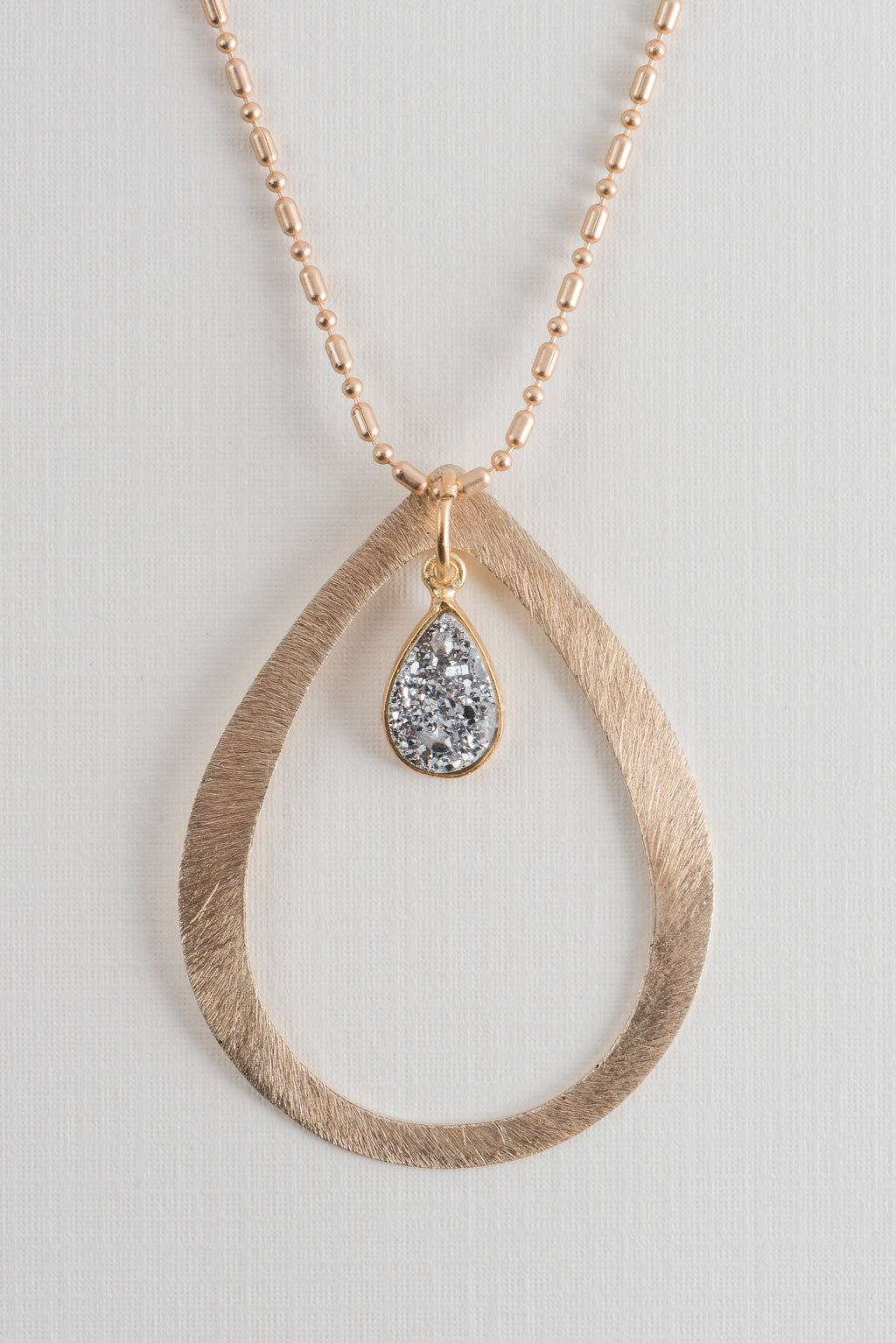Brushed Gold Teardrop Druzy Necklace