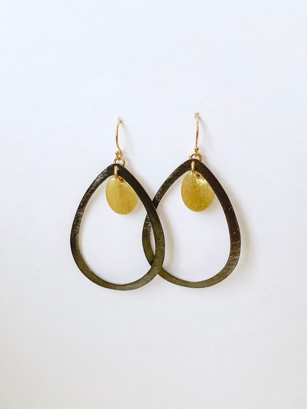 Black and Gold Teardrop Hoop Earrings