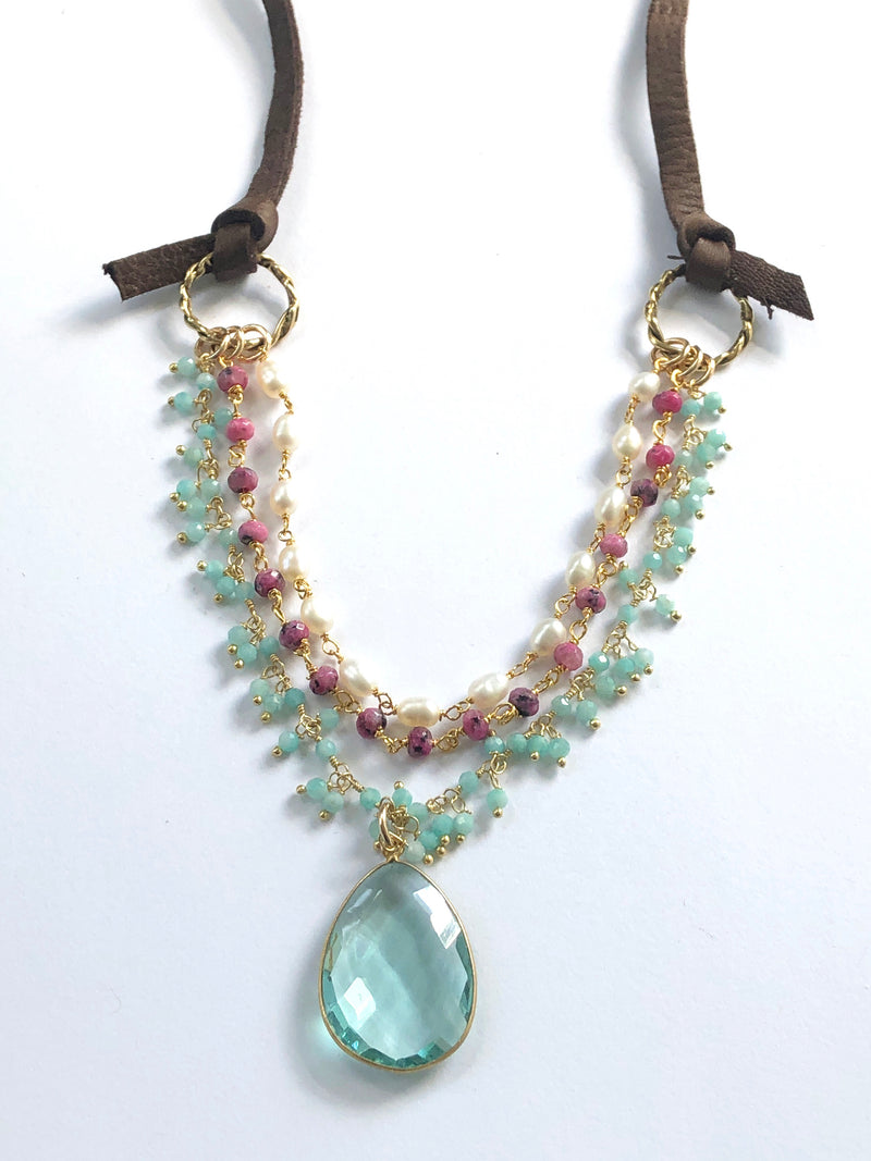 Colors of the Sea Multi Strand Necklace