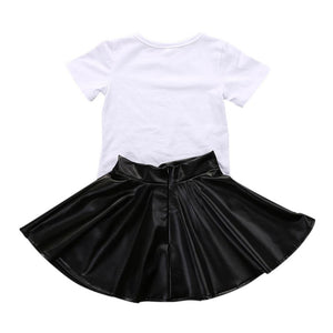 Short Sleeve Mini Boss T-shirt Tops + Leather Skirt