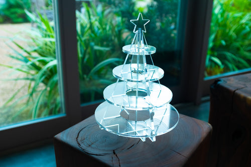 Delightful Acrylic Tiered Christmas Tree with four tiers available.