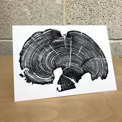 Bois D'arc Tree Ring Print from a fallen tree near Evant, Texas, on heavy matte card stock