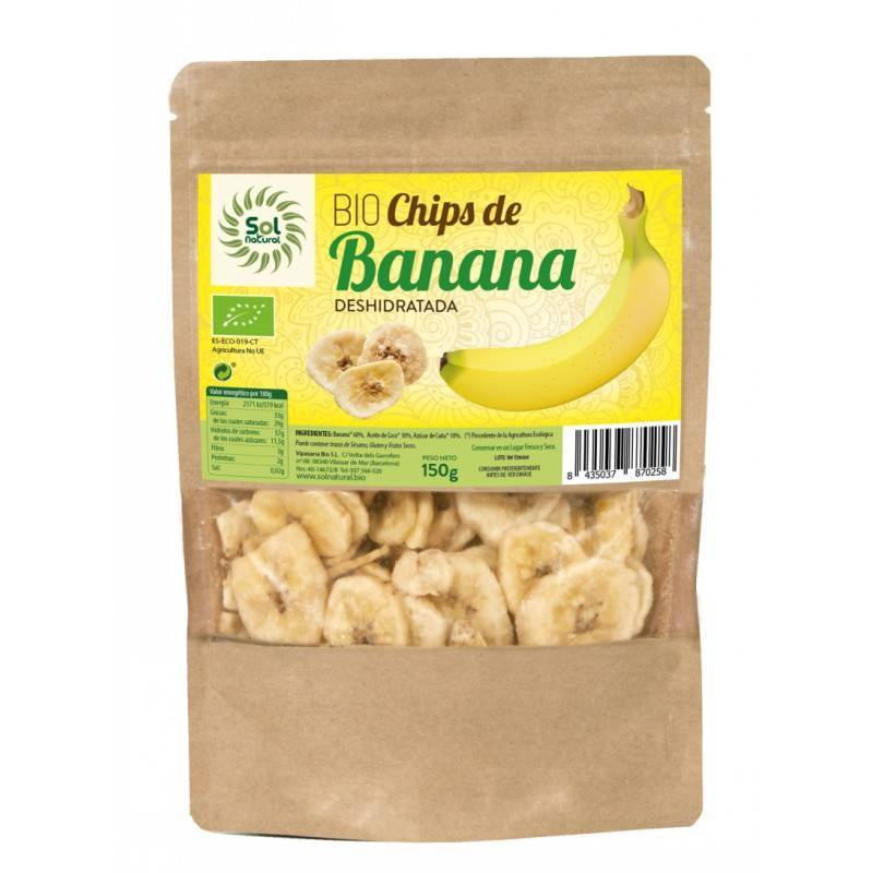 Bio Chips Banana 150g. SOL NATURAL chips banana - Planeta Bio