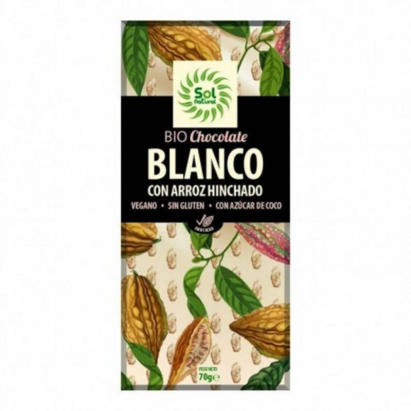 Chocolate Blanco con Arroz Hinchado 70g. SOL NATURAL Chocolate ecológico - Planeta Bio