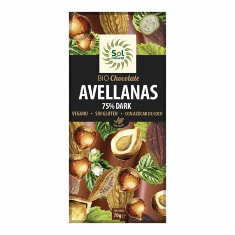 Chocolate 75% y Avellanas 70g. SOL NATURAL Chocolate ecológico - Planeta Bio