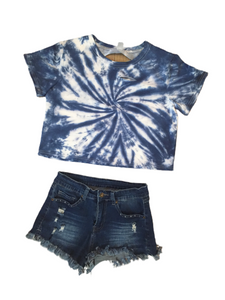 Celeb Picks: Indigo Tie Dyed and Distressed Cropped Tee