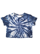 Load image into Gallery viewer, Celeb Picks: Indigo Tie Dyed and Distressed Cropped Tee
