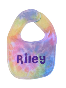 Tie-Dyed Baby Blanket and Bib Set (personalization included)