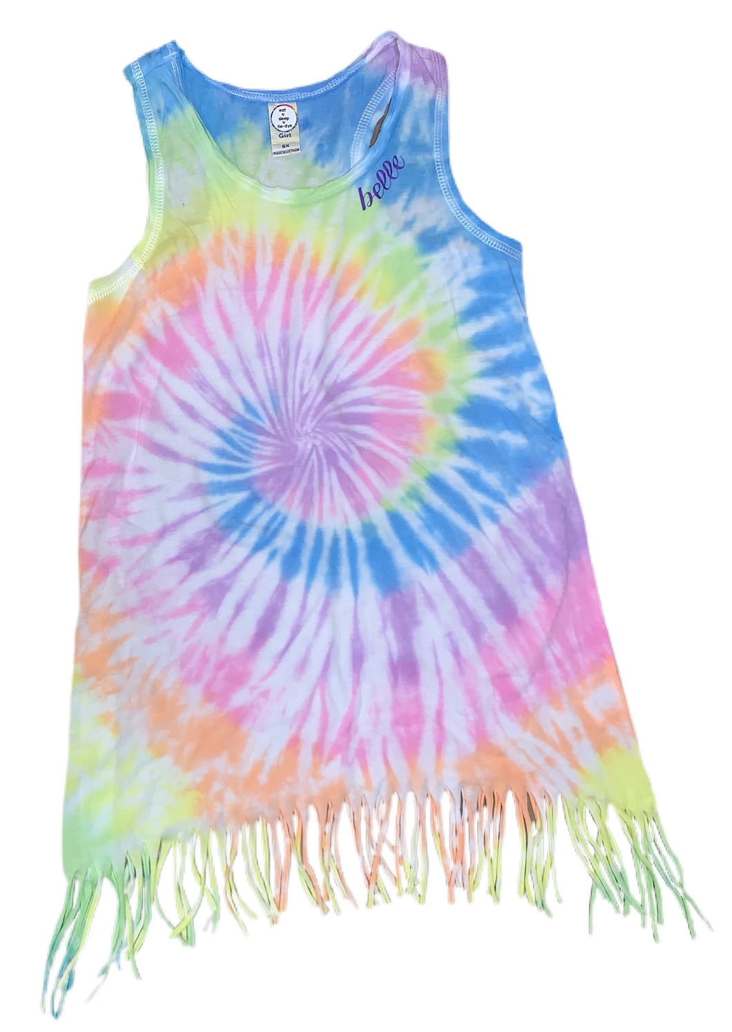 Girl's Tie-Dyed & Personalized Fringe Dress