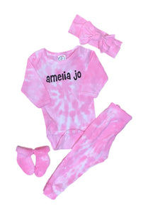 Tie-Dye 4-Piece Personalized Baby Set