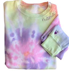 Women's Embroidered & Tie Dyed LONG SLEEVE TEE (3 Embroidery Locations)