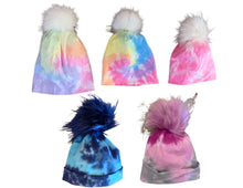 Load image into Gallery viewer, Baby Girls Tie Dyed Pom Pom Beanies (Sizes 0-6 months)