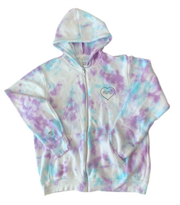 Women's Embroidered and Tie-Dyed Zip Up Hoodie (2 Embroidery Locations)