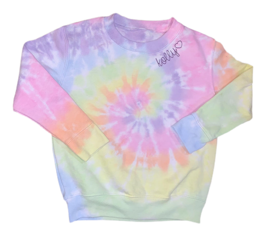 PRE-ORDER - Influenced by Krista - Toddlers / Kids Embroidered & Tie Dye Crew Neck Sweatshirt