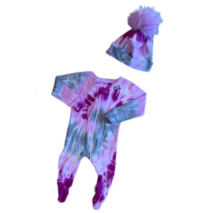 """Plum & Grey Swirl"" Tie-Dyed ZIPUP Baby Footie (personalization included)"