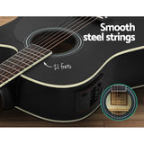 Alpha 41 Inch Electric Acoustic Guitar Wooden Classical Full Size EQ Capo Black""