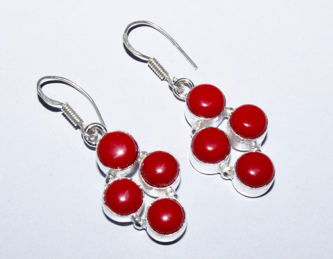 Red Coral Gemstone Earrings