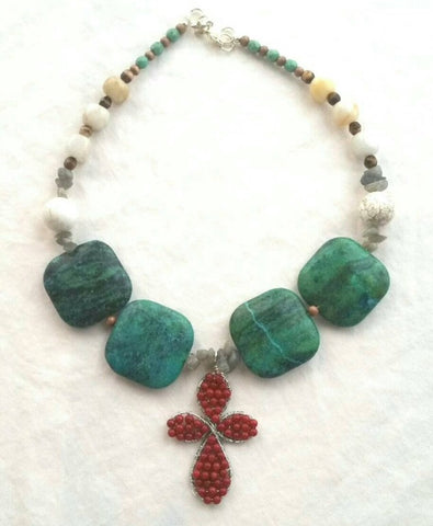 Beautiful Turquoise and Coral Cross Choker