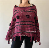 Flower Fringed Crochet Poncho
