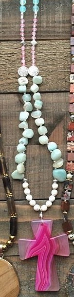 Lovely Turquoise & Stones Necklace with Pink Cross
