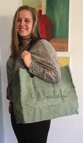 """It's a Wonderful World"" Military Tent Handbag"