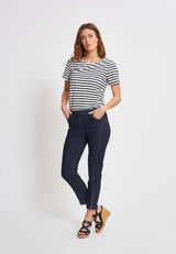 Madison Slim Crop - Dark Blue Denim
