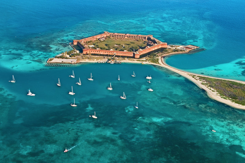 Beautiful Aerial View of Fort Jefferson in Dry Tortugas National Park Florida
