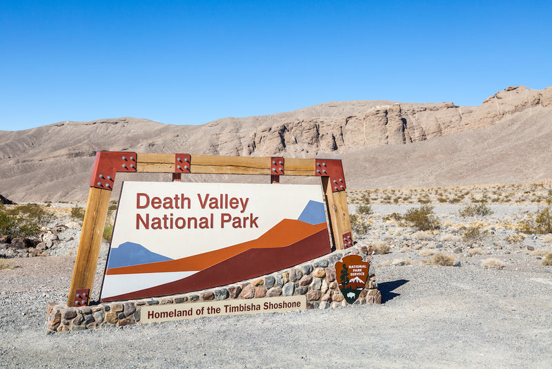 Death Valley National Park Sign During a Sunny Day With Clear Blue Skies