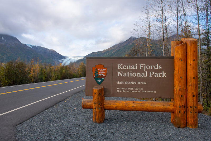 Entrance Sign Near Exit Glacier in Kenai Fjords National Park Alaska