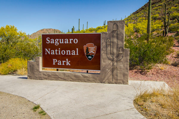 Entrance Sign to Saguaro National Park in Tucson Arizona