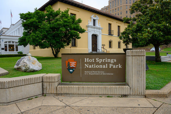 Hot Springs National Park Sign on City Street