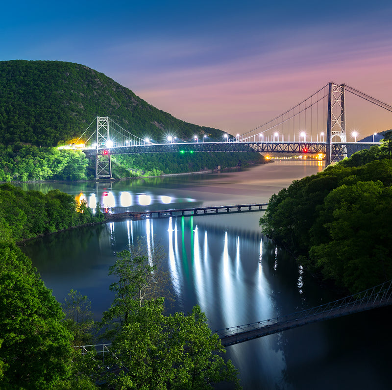 Hudson River Valley View of Bear Mountain Bridge at Night With Lights
