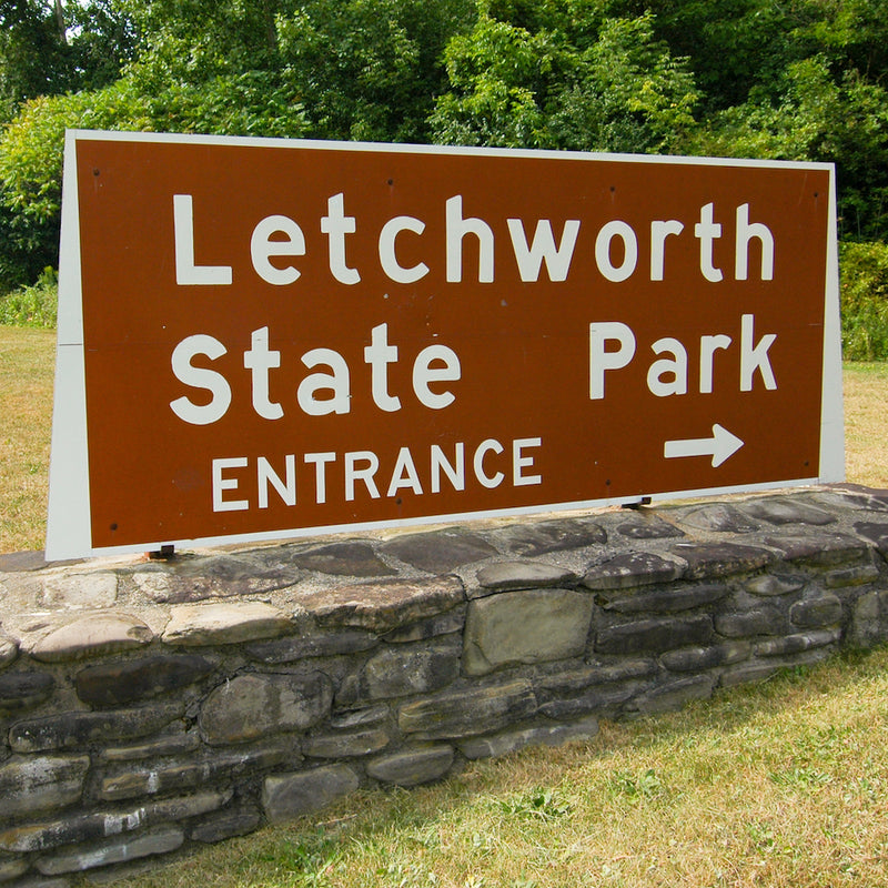 Letchworth State Park entrance sign on sunny day