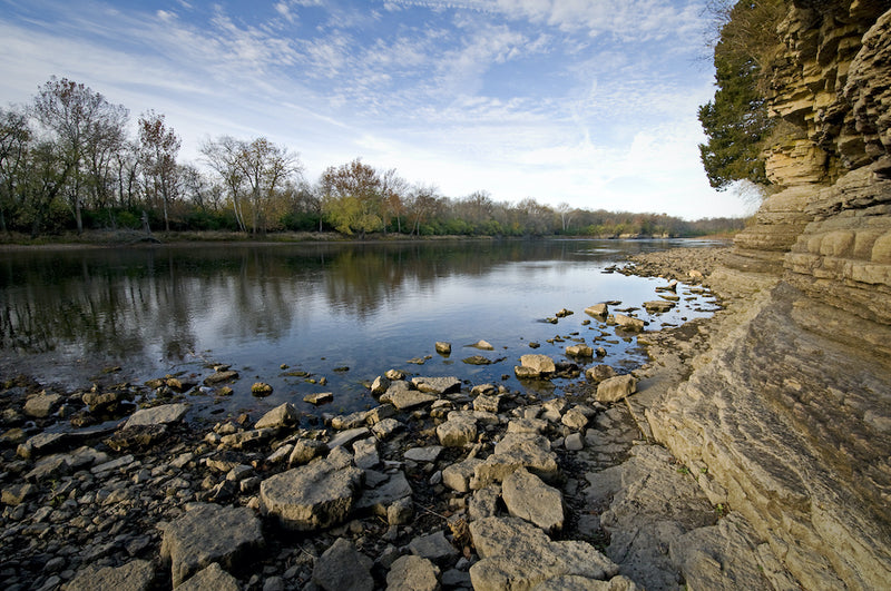 Rocky Shoreline in Kanakee River State Park Illinios