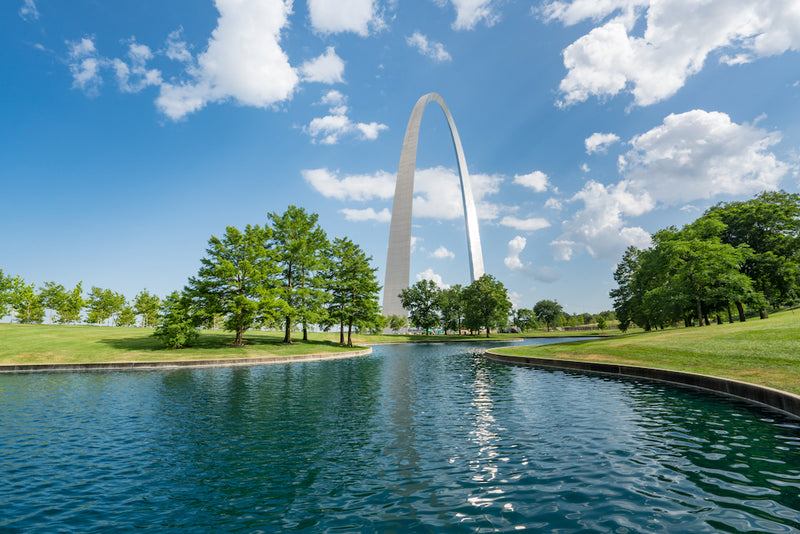 St Louis Gateway Arch Near Pond in Gateway Arch National Park Missouri