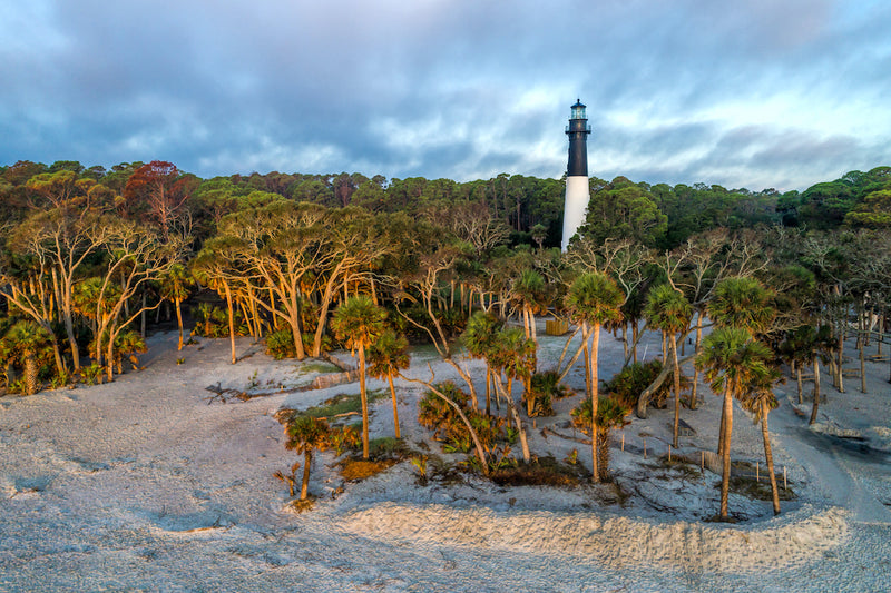 View of Huntington Island Lighthouse at Huntington Island State Park South Carolina