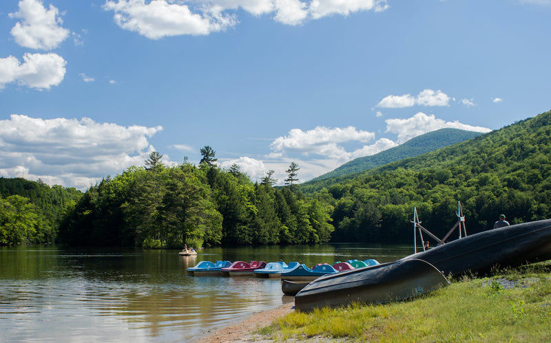View of Paddle Boats on Emerald Lake in Emerald Lake State Park Vermont