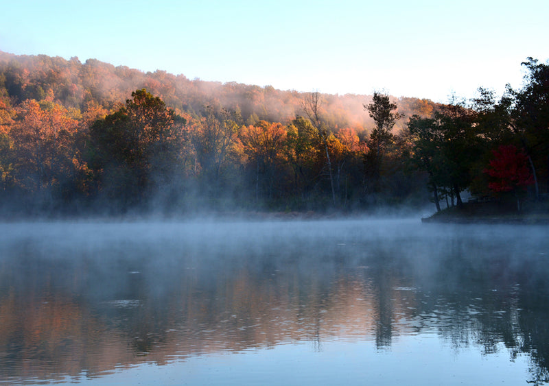 View Rising Mist From Lake at Devils Den State Park Arkansas