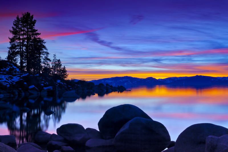 View of Sunset on Lake Tahoe in Lake Tahoe Nevada State Park Nevada